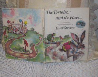 The Tortoise and the Hare, An Aesop Fable, Janet Stevens, Reading Rainbow Books, 85, Hardcover Bk, Vintage Children Book, Vintage Book :)s*