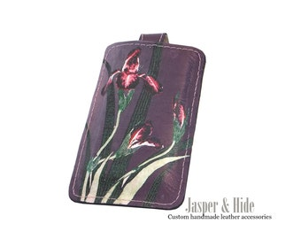 Printed Leather smart phone case- Custom made to fit any phone