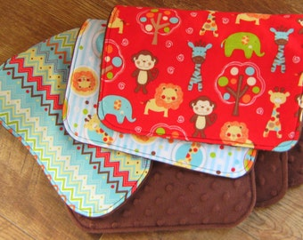 Chevron Burp Cloths: Circus Animals, Baby Boy or Girl, Contoured Brown Minky, Set of Burpcloths, Monkeys, Giraffes, Lions, Zebras, Elephants