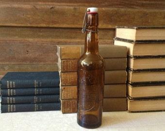 Vtg 1932 // French // Amber Glass Beer Bottle // Biere // Ceramic Stopper