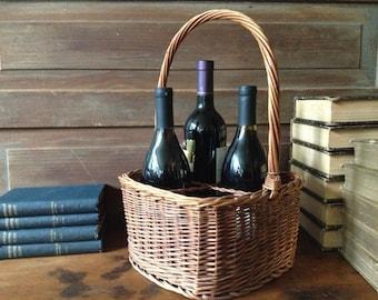 French Vintage Wicker Wine Bottle Carrier Case
