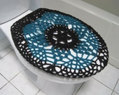 Crochet Toilet Seat Cover - black/real teal (TSC6C)