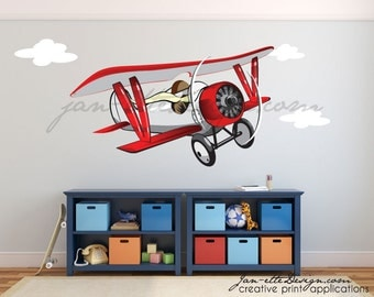 Large Airplane Wall Decal. Removable Fabric Wall Decal,Transportation and Aviation Theme,Biplane