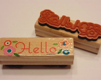 Hello with flowers rubber stamp, 70 mm (GG2)