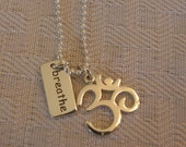 Sterling Silver Necklace.  Breathe, Om, Yoga Inspired Jewelry, Zen, Christmas Gift