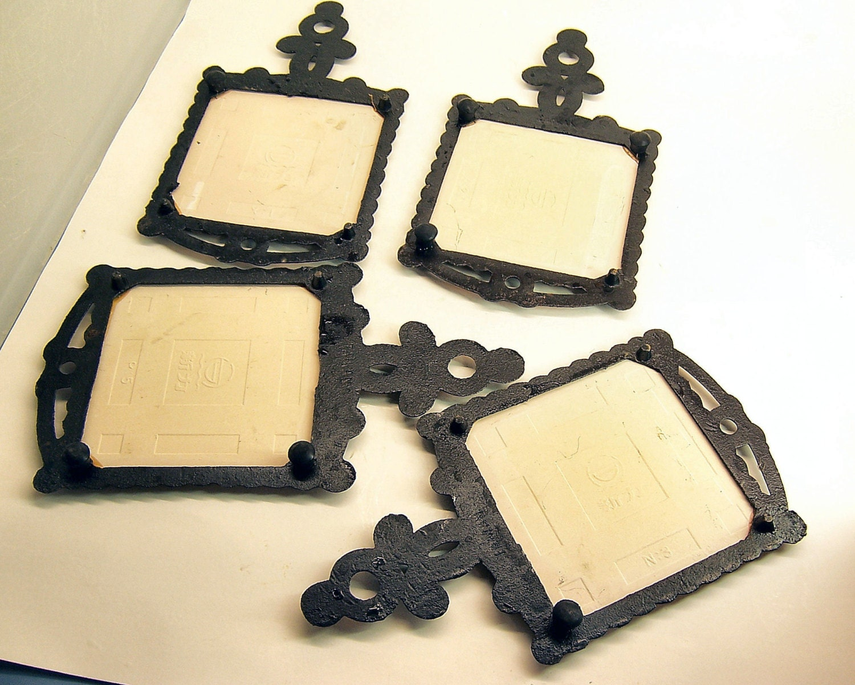 1970 Cast Iron Ceramic Tile Trivet Set of 4, Ceramic Hot Plate ...