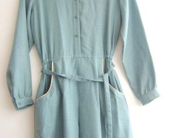 Vintage dress soft deep blue fabric