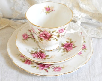vintage Royal Albert teacup trio english tea set  pink roses teacup trio vintage tea cup  vintage floral teacup  330