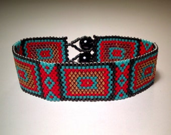 25% SALE! Use code NEWYEAR2016! Red, Turquoise, and Gold Tribal Peyote Bracelet