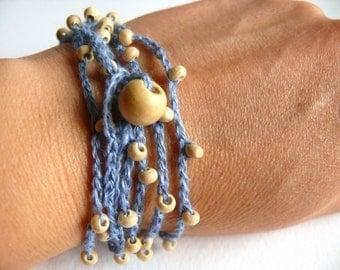 Bohemian crochet bracelet, Linen crochet bracelet, crochet beaded bracelet, Birthday gift, Shabby chic bracelet, wedding romantic bracelet