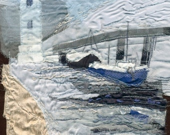 Limited Edition Giclee Textile Art Print 'Misty North Shields Fish Quay'