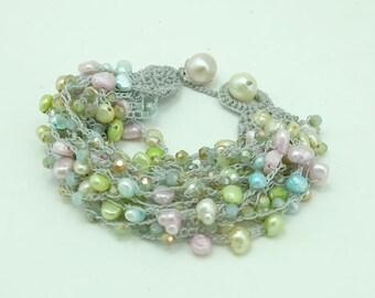 Pastel color freshwater pearl bracelet.