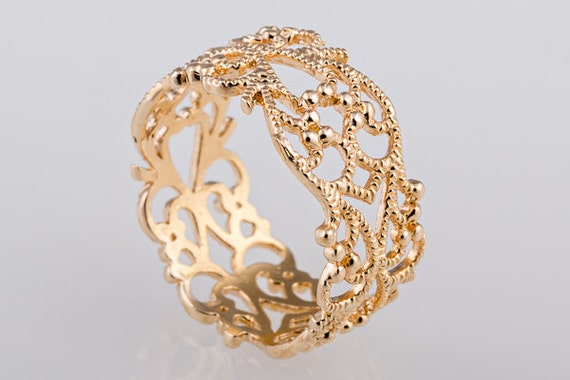 gold ring lace ring floral gold ring dainty by