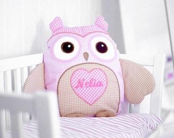Baby Monogram Pillow , Designer Owl  Pillow,   Custom Baby Pillow