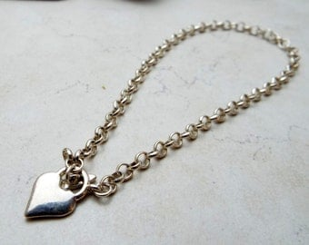 Silver Heart Toggle Anklet