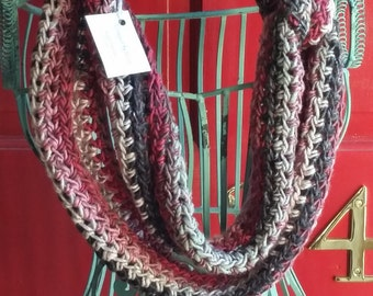 Crocheted Garnet Grey Heather Infinity Scarf 4x26