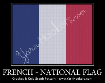 French National Flag - Afghan Crochet Graph Pattern Chart by Yarn Hookers