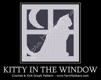 Kitty in the Window - Afghan Crochet Graph Pattern Chart - Instant Download