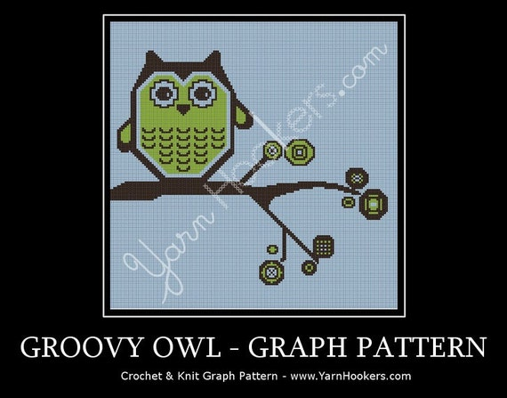 Groovy Owl - Afghan Crochet Graph Pattern Chart - Instant Download