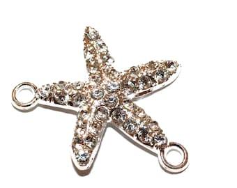2pc Starfish Connector-Silver Rhinestone Charm-32x25x4mm