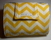 Travel Diaper Changing Pad - Yellow Chevron & Navy