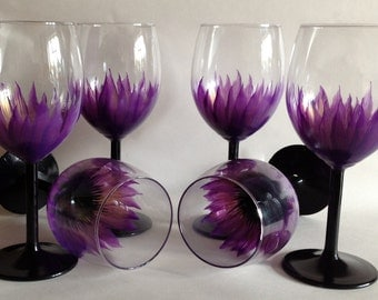 Wedding Anniversary Brides Maid  Party Hand Painted Wine Glasses set of 6