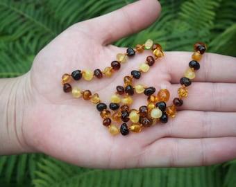 "15""   Baroque Multicolor  Baltic Amber Baby Teething Necklace."