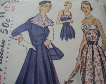 SALE Vintage 1950's Simplicity 8382 Dress and Jacket Sewing Pattern, Size 12, Bust 30