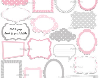 Pink and gray labels - frames and speech bubbles clip art set - printable digital clipart - instant download