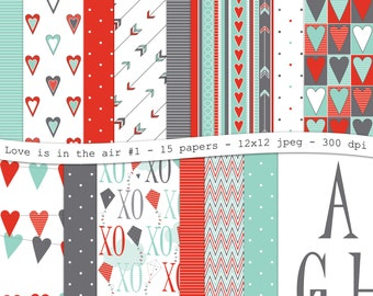 Love is in the air No.1-Valentines digital scrapbooking paper pack-15 printable red mint gray jpeg papers, 12x12, 300 dpi - instant download