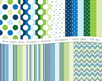 Blue green digital scrapbooking paper pack - 28 printable jpeg papers polka dot chevron stripes - 12x12, 300 dpi - instant download