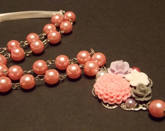 Pink and Silver Vintage Inspired Garden Necklace