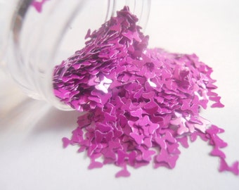 "Matte Purple Bows Ribbons 1/2 Ounce 1/8"" Solvent Resistant Glitter Frankening Nail Polish Supply Hairbow Shaped Glitter"