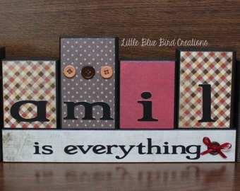 Family is everything wood block set - personalized blocks - home decor - family wood sign