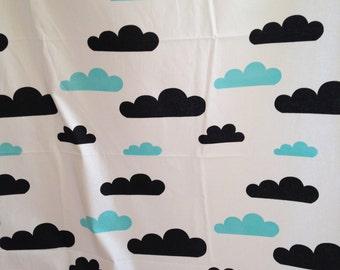 Blue and Black Cloud Cotton Fabric - By the Yard