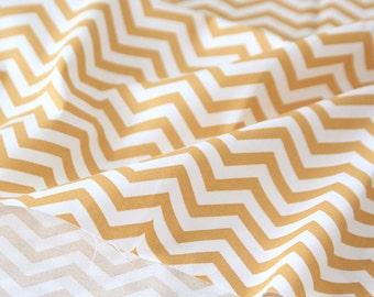 Mustard Chevron Cotton Fabric - By the Yard - Zig Zag Pattern - 56444