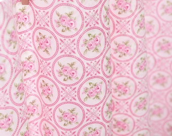 Circle Roses Cotton Fabric - Pink - By the Yard 61821