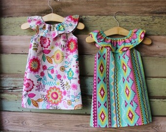 Aztec Floral Ruffle Neck Beach Dress, baby girls, summer dress, size 6 months 12 months 18 months 2t 3t 4t 5t,6,7/8,9/10, sun dress