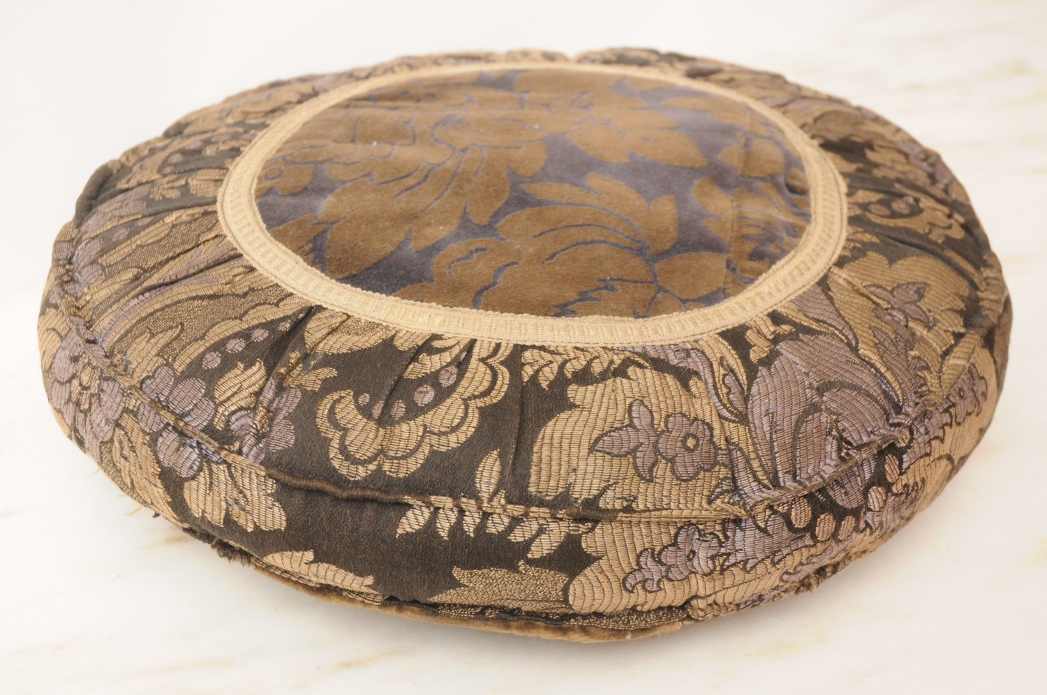 Antique Victorian ROUND Velvet Throw Pillow Handmade Taupe