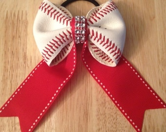 Real Baseball Bow Ponytail Holder