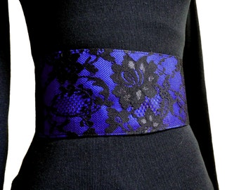 Blue Belt, Obi Belt with Corset Style Fastening, Wide Belt with Black Lace