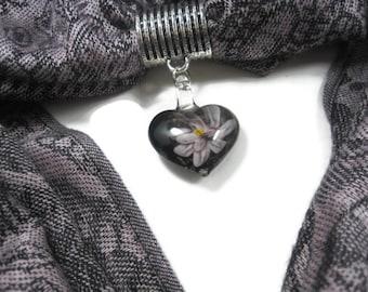 Lampwork Glass Scarf Pendant, Homemade Scarf Jewelry, Purple Floral Heart Scarf Pendant