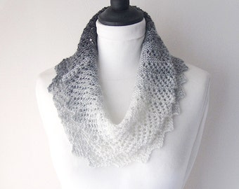 Black silver cowl, knitted cowl, Winter cowl,lace effect cowl, Winter accessories, steampunk cowl, ladies cowl, Fall accessories, uk cowls