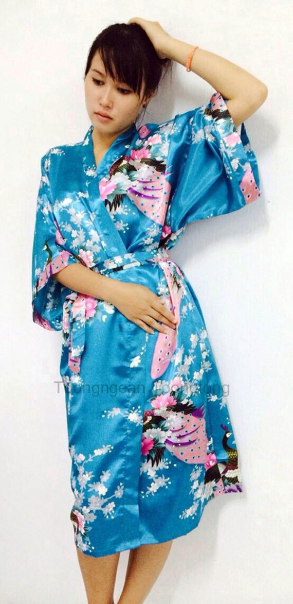 On Sale Kimono Robes Bridesmaids Silk Satin Blue/Green Colour Paint Peacock Design Pattern Gift Wedding dress for Party Free Size