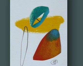 Mixed Media Collage, Miniature Abstract Art, Abstract ACEO, Textured art by Teofana