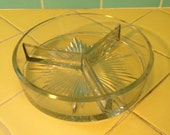 Vintage pressed glass divided candy dish