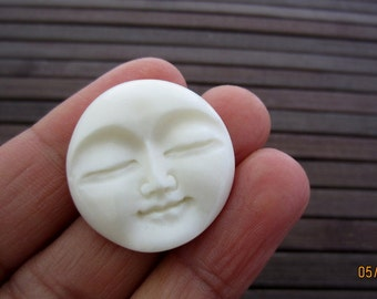 27mm (1.06 inch)   Excellent  Moon Face cabochon, Organic Cabochon,   bone, Embellishment, Jewelry making SUpplies B4231