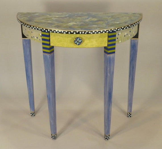 Half Round Table Cobalt Lime Anthropologie Knob Ships As Shown Or