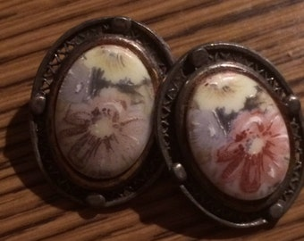 Sale- Vintage Antique Hand Painted Framed Oval Clip On Floral Earrings