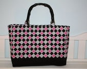 Pink, Black And Gray Striped Damask Pattern Purse With Black Bamboo Handles